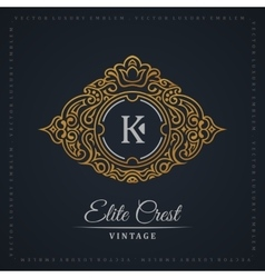 Vintage gold logo set Flourishes crest vector image