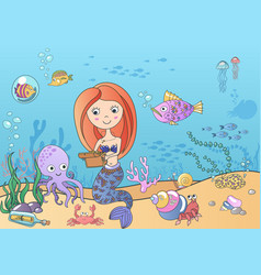 beautiful cute little siren mermaid with vector image