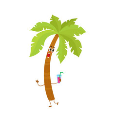 funny tropical palm tree character holding a vector image vector image