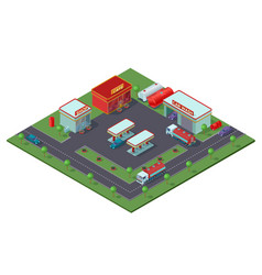 Isometric gas station concept vector