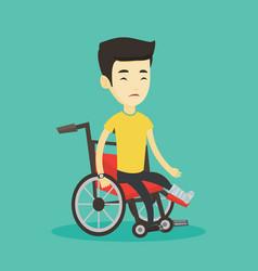 man with broken leg sitting in wheelchair vector image