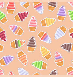 seamless pattern ice cream background vector image