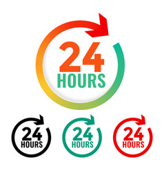 24 hours open icon in many colors vector