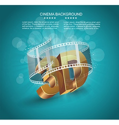 3D word in golden glass with cinema roll vector image