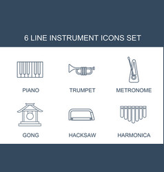 6 instrument icons vector