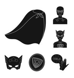 A fantastic superhero black icons in set vector