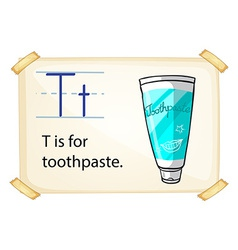 A letter T for toothpaste vector image
