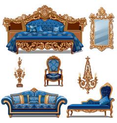 a set furniture blue color for vintage interior vector image