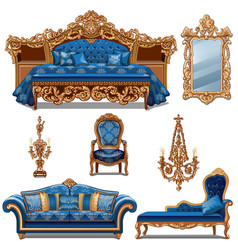 a set of furniture blue color for vintage interior vector image