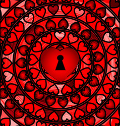 Abstract ornament red color heart with hole vector