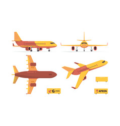 aircraft flat civil aviation planes different vector image