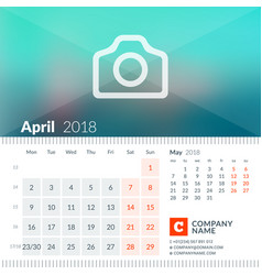 April 2018 calendar for 2018 year week starts on vector