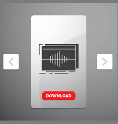 Audio frequency hertz sequence wave glyph icon in vector