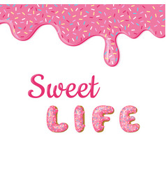 Banner with donut pink glaze and text donuts hand vector