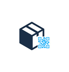 barcode box logo icon design vector image
