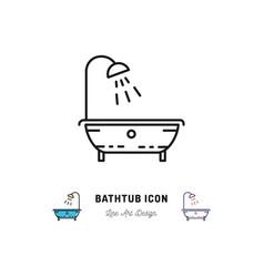 bathtub icon isolated shower plumbing symbol vector image