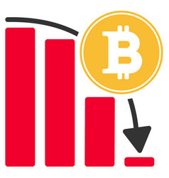 bitcoin falling chart flat icon vector image