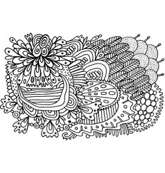 black and white doodle pattern coloring page vector image