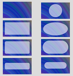 Blue abstract business card frame template set vector image