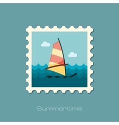 Board Windsurfing stamp Summer Vacation vector