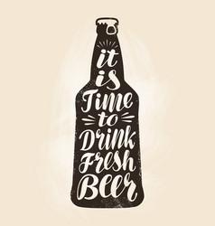 bottle beer ale label lettering calligraphy vector image