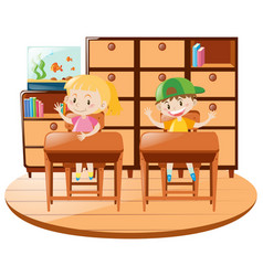 boy and girl sitting on desk in the classroom vector image