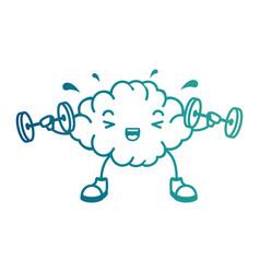 Brain with weight lifting kawaii character vector