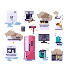 broken home appliances flat vector image