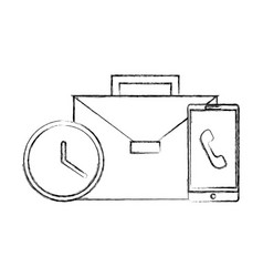 business briefcase office clock and smartphone vector image