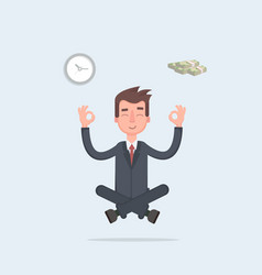 businessman found his balance with time and money vector image