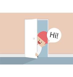 Businessman open the door and say hi vector image