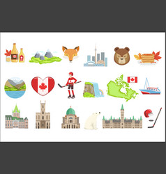 Canadian national symbols set of items isolated vector