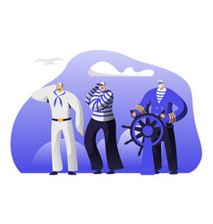captain at steering wheel sailors stripped vests vector image
