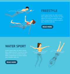 cartoon characters swimming and diving people vector image