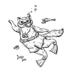 cat scuba diver dressed in a mask for diving vector image