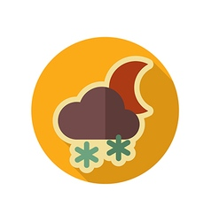 Cloud Snow Moon retro flat icon Weather vector