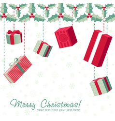 Colorful gift boxes hanging from holly garland vector