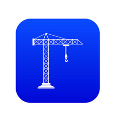 Construction crane icon digital blue vector