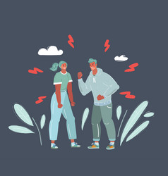 Couple having a heated argument on dark vector