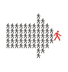 crowd of workers follows the team leader vector image