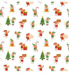 cute childish christmas tiny elves seamless vector image