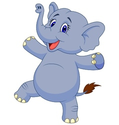 Cute elephant cartoon dancing vector