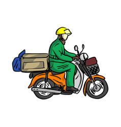 delivery man send order with motorcycle vector image