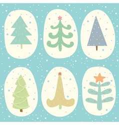 Doodle Christmas tree set vector image