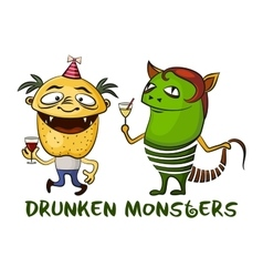 Drunken Cartoon Monsters Set vector