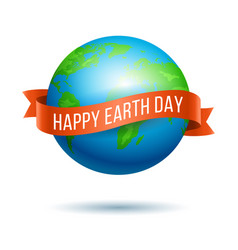 earth day globe with red ribbon vector image