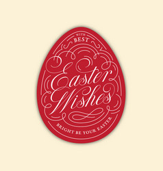 easter wishes egg lettering vector image