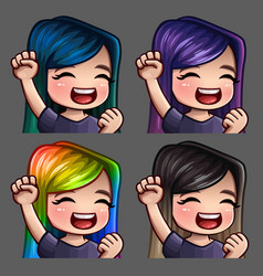 Emotion icons smile happy female vector
