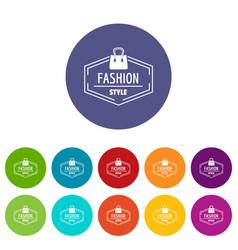fashion style bag icons set color vector image