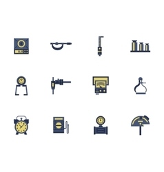 Flat color design measuring devices icons vector image